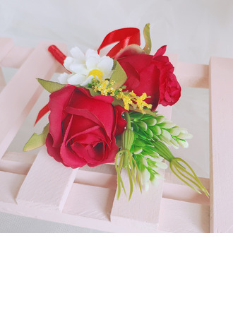 Classic Hand-tied Satin/Ribbon/Artificial Flower Boutonniere (Sold in a single piece) - Boutonniere