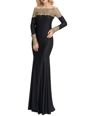 Polyester/Spandex With Lace/Stitching/Embroidery Maxi Dress