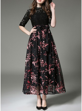 Lace/Organza With Lace/Print Maxi Dress