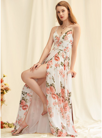 Floral Print V-Neck Sleeveless Maxi Dresses