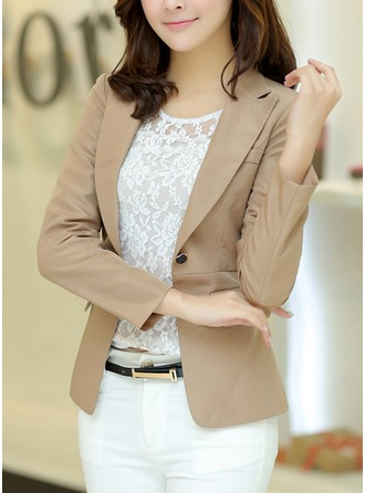 Polyester Long Sleeves Plain Blazer Coats