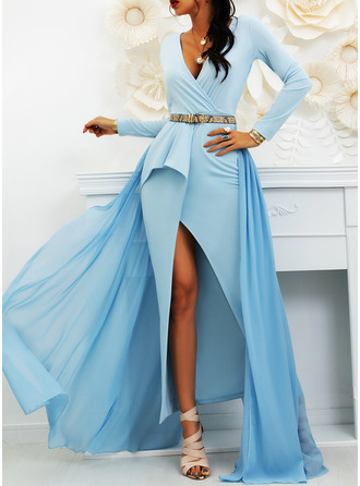 Solid A-line V-Neck Long Sleeves Maxi Elegant Party Skater Dresses