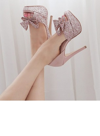 Femmes Pailletes scintillantes Talon stiletto À bout ouvert Plateforme Beach Wedding Shoes avec Bowknot