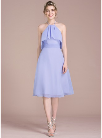 A-Line/Princess Halter Knee-Length Chiffon Bridesmaid Dress With Bow(s) Cascading Ruffles