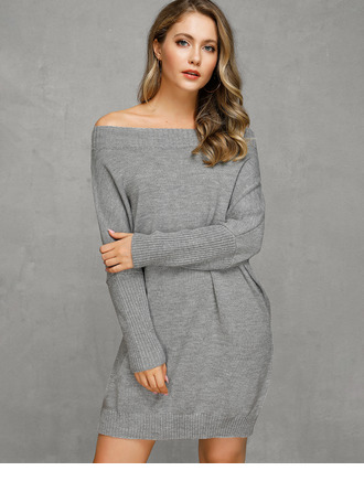 Cable-knit Chunky knit Solid Polyester Off the Shoulder Pullovers Sweater Dresses Sweaters