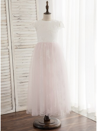 Ankle-length Flower Girl Dress - Tulle Lace Sleeveless Scoop Neck