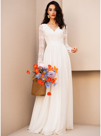 A-Line V-neck Floor-Length Chiffon Prom Dresses With Lace