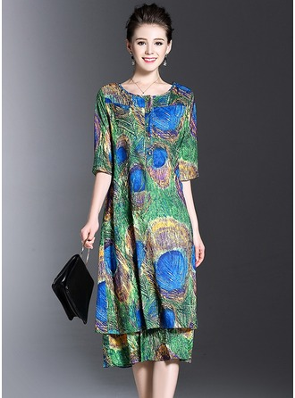 Silk With Print Dress