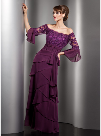 Off-the-Shoulder Floor-Length Chiffon Mother of the Bride Dress With Lace Beading Sequins Bow(s) Cascading Ruffles