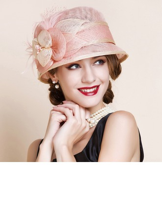 Ladies' Beautiful Cambric With Feather Bowler/Cloche Hat