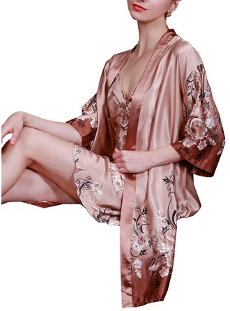 Bride Bridesmaid Silk With Tea-Length Floral Robes