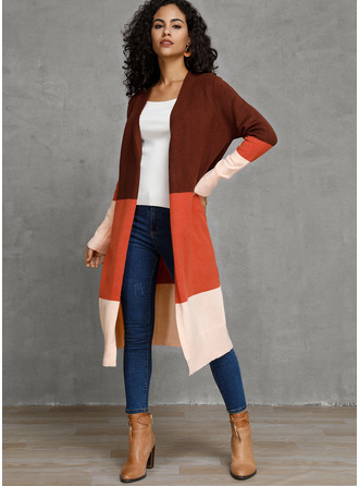 Color Block Polyester Cardigans Sweaters