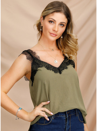 Sleeveless Cotton V Neck Tank Tops Blouses