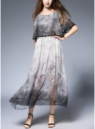 Chiffon With Print/Hollow/Crumple Maxi Dress