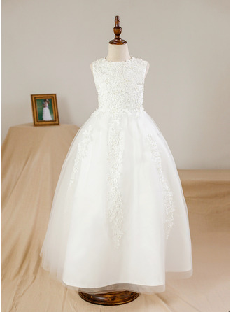 Ankle-length Flower Girl Dress - Satin Tulle Sleeveless Scoop Neck With Beading Appliques
