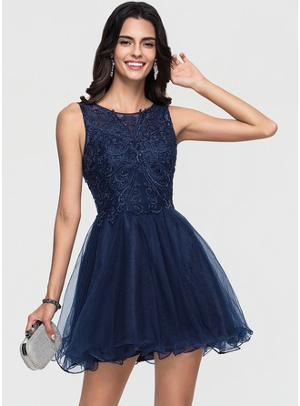 A-Line Scoop Neck Short/Mini Tulle Homecoming Dress With Lace Sequins