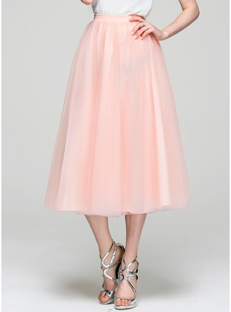 A-Line/Princess Tea-Length Tulle Cocktail Skirt