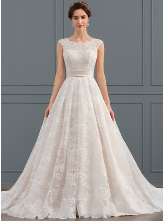 Scoop Neck Chapel Train Lace Wedding Dress With Ruffle