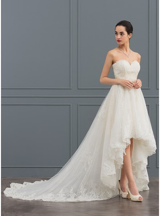 Sweetheart Asymmetrical Tulle Lace Wedding Dress With Beading