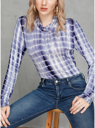 Long Sleeves Cotton Blends Stand collar Blouses