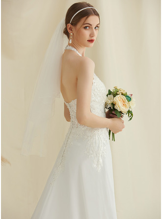 Halter Court Train Chiffon Lace Wedding Dress With Beading Sequins