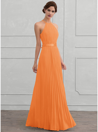 Scoop Neck Floor-Length Chiffon Evening Dress With Bow(s) Pleated