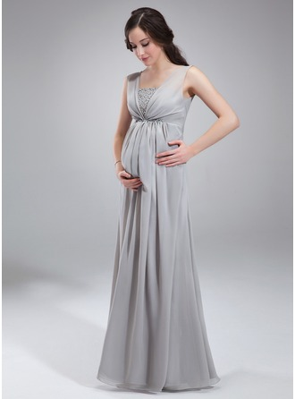 Empire Square Neckline Floor-Length Chiffon Chiffon Maternity Bridesmaid Dress With Ruffle Beading Sequins
