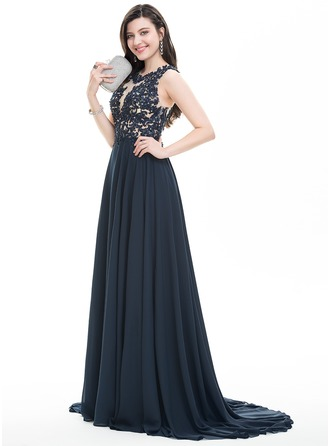 Scoop Neck Sweep Train Chiffon Prom Dresses