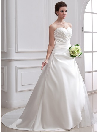 Ball-Gown Sweetheart Chapel Train Satin Wedding Dress With Ruffle