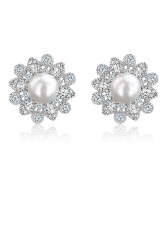 Ladies' Classic 925 Sterling Silver With Cubic Pearl/Cubic Zirconia Earrings For Mother/For Friends