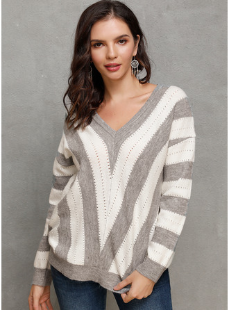 Striped Chunky knit Polyester V-neck Pullovers Sweaters