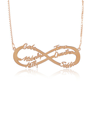Custom 18k Rose Gold Plated Silver Hollow Carved Six Infinity Name Necklace -