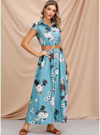 Cotton Blends With Button/Print Maxi Dress