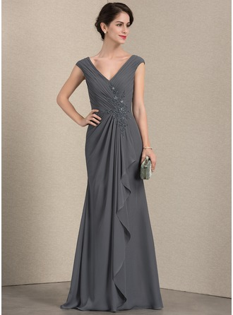 A-Line V-neck Floor-Length Chiffon Mother of the Bride Dress With Beading Sequins Cascading Ruffles