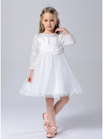 A-Line/Princess Knee-length Flower Girl Dress - Polyester Long Sleeves Scoop Neck With Lace/Beading/Flower(s)/Bow(s)
