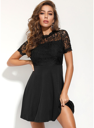 Polyester/Lace With Lace/Hollow/Solid Above Knee Dress