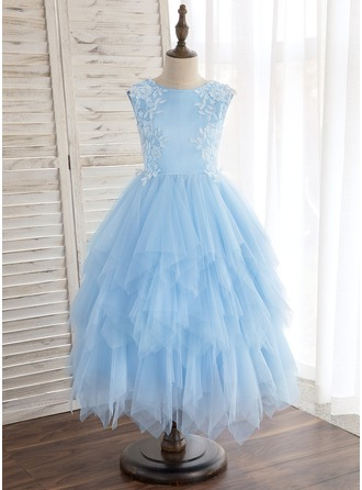Tea-length Flower Girl Dress - Satin Tulle Sleeveless Scoop Neck With Lace