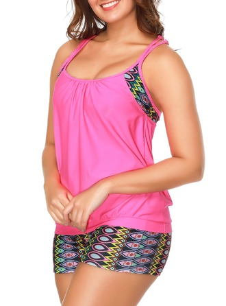Colorful Sangle Tankini Maillot de bain