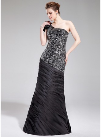 Trumpet/Mermaid One-Shoulder Floor-Length Charmeuse Sequined Evening Dress With Ruffle Flower(s)
