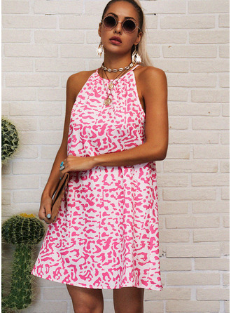 Print Shift Round Neck Sleeveless Midi Casual Dresses
