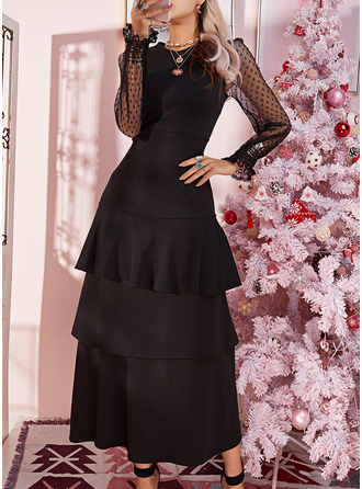 Lace Solid A-line Round Neck Long Sleeves Maxi Elegant Little Black Party Skater Dresses
