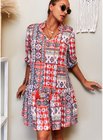 Patchwork Print Shift V-Neck 3/4 Sleeves Midi Boho Casual Vacation Tunic Dresses