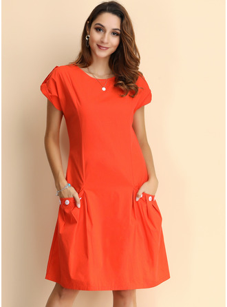 Cotton With Resin solid color Knee Length Dress