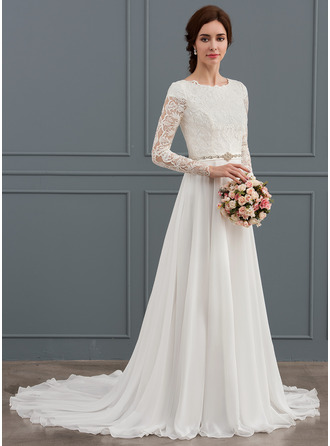 Scoop Neck Court Train Chiffon Wedding Dress With Beading