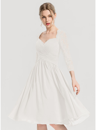 Sweetheart Knee-Length Chiffon Cocktail Dress With Ruffle