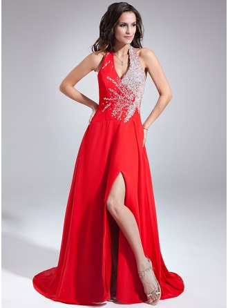 A-Line/Princess Halter Sweep Train Chiffon Prom Dress With Beading Sequins Split Front