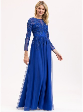 Scoop Neck Floor-Length Tulle Lace Bridesmaid Dress With Sequins