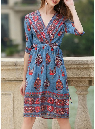 Chiffon With Bowknot/Print/Crumple Knee Length Dress