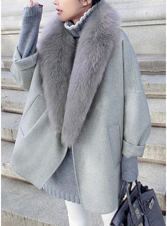Wool Faux Fur Long Sleeves Plain Wide-Waisted Coats Coats