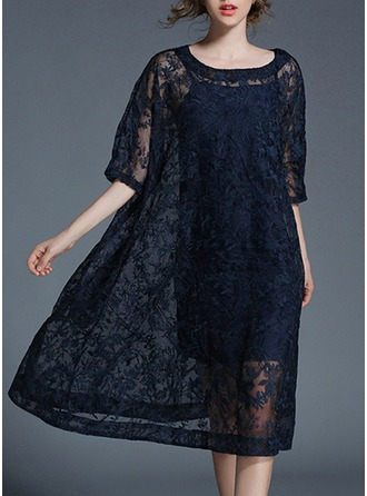 Organza With Embroidery/Crumple/See-through Look Midi Dress (Two Pieces )